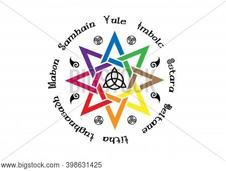 Book Of Shadows Wheel Of The Year Modern Paganism Wicca Colors. Wiccan Calendar And Holidays. Compas