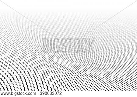 Abstract zig zag lines striped pattern. White textured background. Diminishing perspective view.