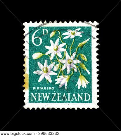 New Zealand - Circa 1960 : Cancelled Postage Stamp Printed By New Zealand, That Shows Pikiarero Flow