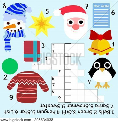 Winter Crossword For Kids Stock Vector Illustration. Amusing Educational Crossword With Keyword Let