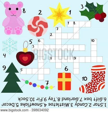 Funny Children Winter Crossword Stock Vector Illustration. Cartoon Educational Word Game With Answer