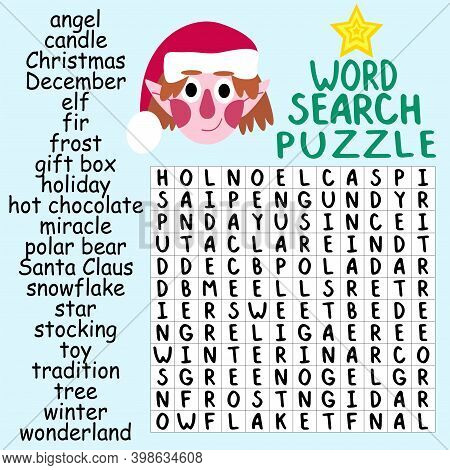 Word Search Puzzle For Christmas Children Pastime Stock Vector Illustration. Educational Word Game W