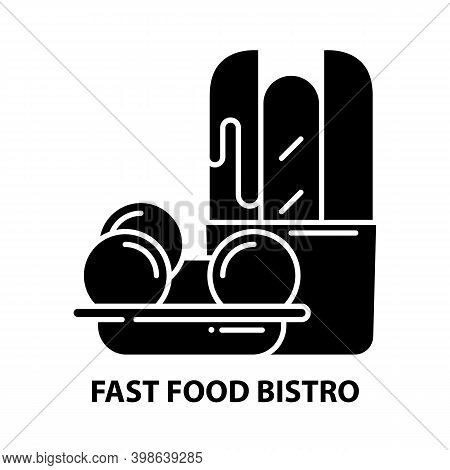 Fast Food Bistro Icon, Black Vector Sign With Editable Strokes, Concept Illustration