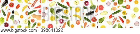 Panoramic skinned from whole and cut vegetables and fruits separated by vertical lines isolated on white background.