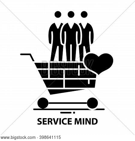 Service Mind Symbol Icon, Black Vector Sign With Editable Strokes, Concept Illustration