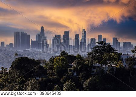 Dusk view of tree covered hilltop and downtown Los Angeles from popular Griffith Park near Hollywood California.