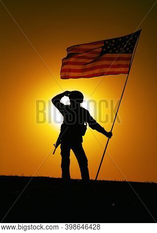 Silhouette Of Us Army Soldier, Marines Corps Fighter Or Special Forces Rifleman In Helmet, Armed Rif