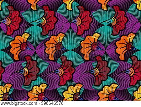 African Wax Print Fabric, Ethnic Overlap Ornament Seamless Design, Kitenge Pattern Motifs Floral Ele