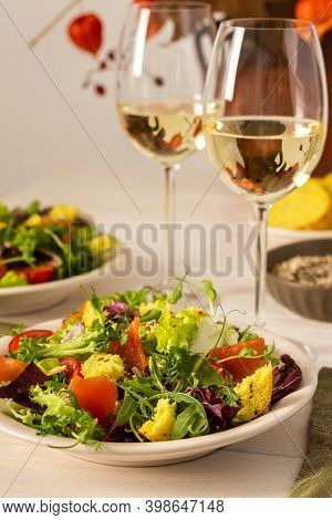 Light Breakfast Or Dinner, Mix Salad With Salmon And Different Seeds And Two Glasses Of White Wine,