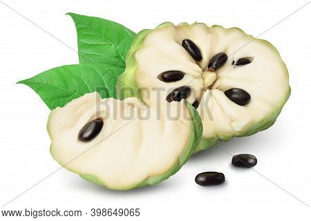 Sugar Apple Or Custard Apple Half Isolated On White Background With Clipping Path And Full Depth Of
