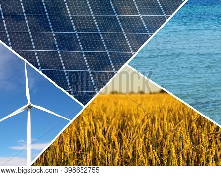 Collage With Photos Of Water, Field, Solar Panels And Wind Turbine. Alternative Energy Source