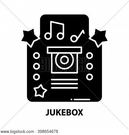 Jukebox Icon, Black Vector Sign With Editable Strokes, Concept Illustration