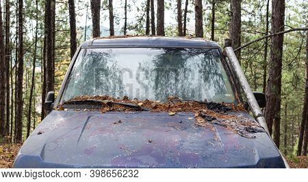 Abandoned Diesel Pickup Truck Rusted In Forest Global Problem Concept Regulations Pollution Metal Ab