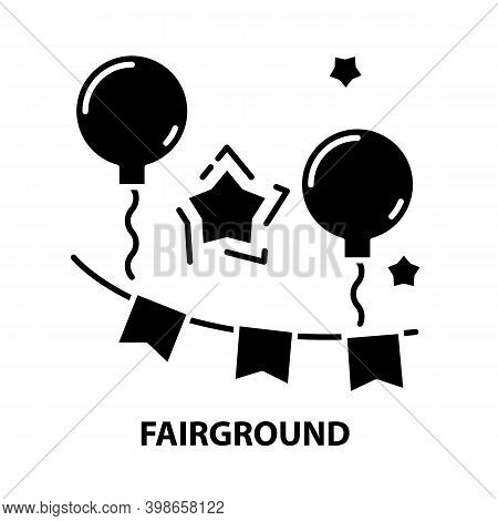 Fairground Icon, Black Vector Sign With Editable Strokes, Concept Illustration