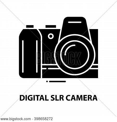 Digital Slr Camera Icon, Black Vector Sign With Editable Strokes, Concept Illustration