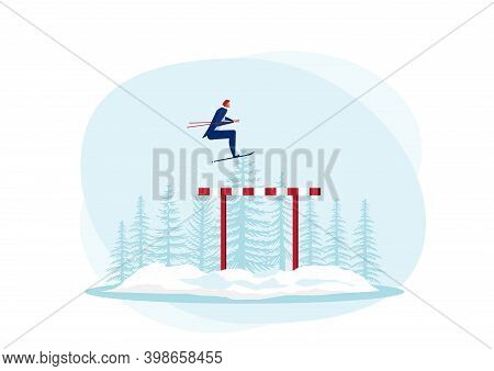Businessman Use Sky Jumping Over Hurdles Or Obstacles On Snow Background. Symbol Of Determination, A