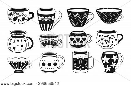 Cup Monochrome Tea Coffee Cartoon Style Set Vector