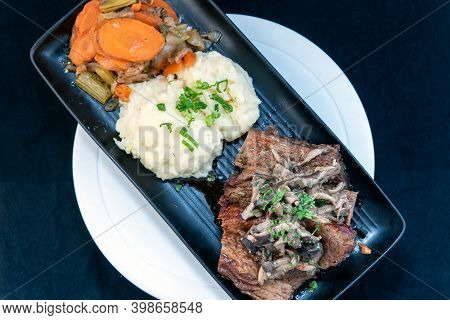 Overhead View Of Delicious Braised Beef With Mushroom Ragu Makes The Mouth Water And The Stomach Gro