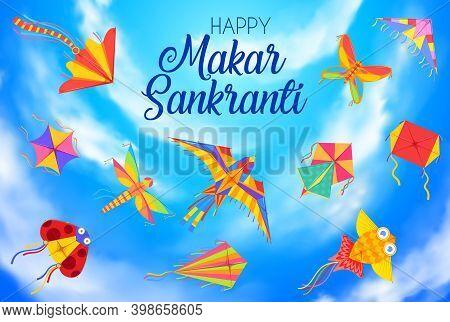 Happy Makar Sankranti Day, Harvest Festival Background With Kites. Indian And Nepal Hindu Calendar H
