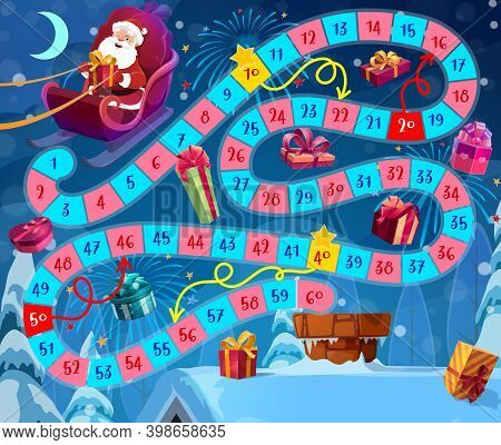 Kids Christmas Board Game With Santa Claus And Gifts. Santa Flying In Sleigh, Delivering And Droppin
