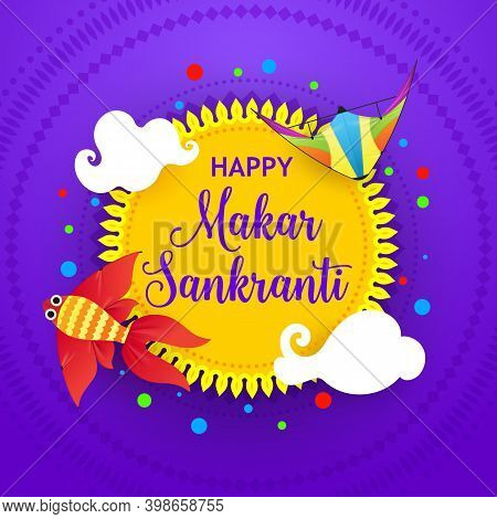 Happy Makar Sankranti Festival Banner, Indian Maghi Greeting Card Design With Colorful Kites And Sun