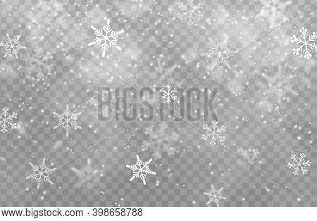 Snow Transparent Background, Christmas Vector Design. White Snowflakes Of Xmas And New Year Winter H