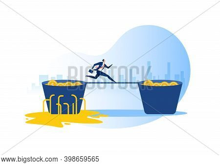 Businessman Run From Leaking Bucket Invest Concept.