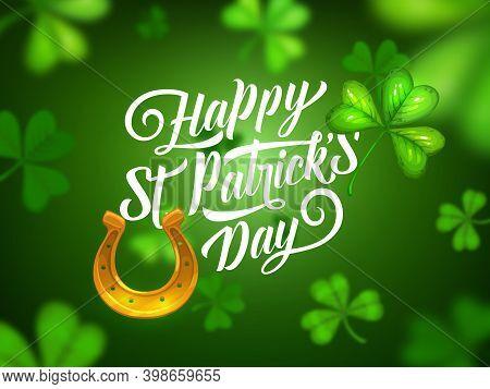 St Patrick Day Irish Holiday, Vector Celebration Party Poster. Happy Saint Patrick Day Greeting, Gol