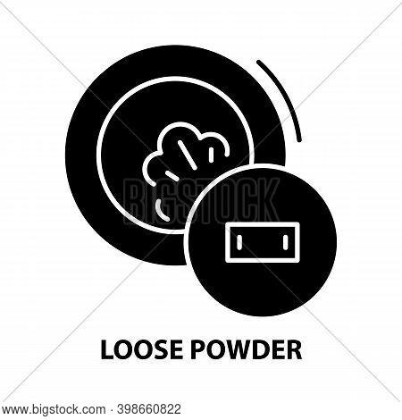 Loose Powder Icon, Black Vector Sign With Editable Strokes, Concept Illustration