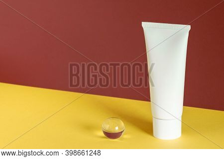 Cosmetic On Yellow Brown Decor Background. Beauty Product Mockup. Wellness Packaging. Branding Spa.