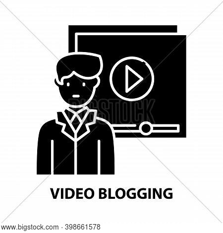 Video Blogging Icon, Black Vector Sign With Editable Strokes, Concept Illustration