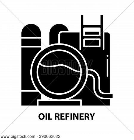 Oil Refinery Icon, Black Vector Sign With Editable Strokes, Concept Illustration