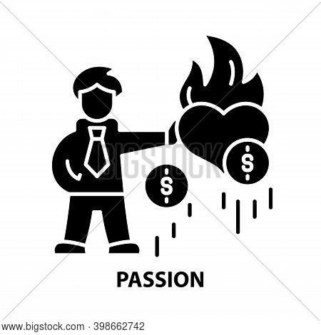 Passion Icon, Black Vector Sign With Editable Strokes, Concept Illustration