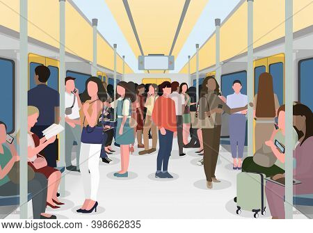 Many People In The City Use Trains When Commuting To Work. People Traveling In The City Often Use Th
