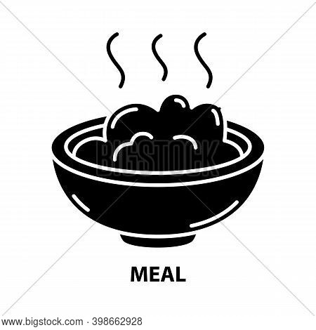 Meal Icon, Black Vector Sign With Editable Strokes, Concept Illustration