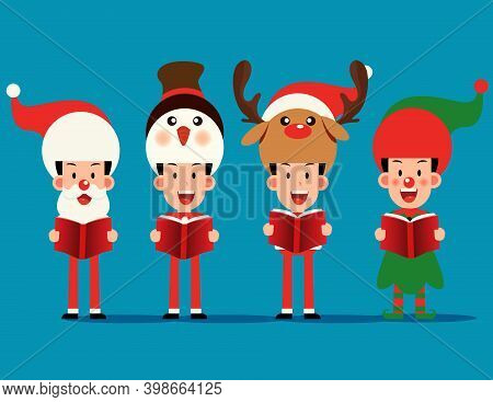 Merry Christmas. Character Costume With Christmas Carol And Choir
