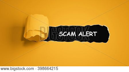 Mock Up With Torn Paper Scam Alert Text.3d Illustration