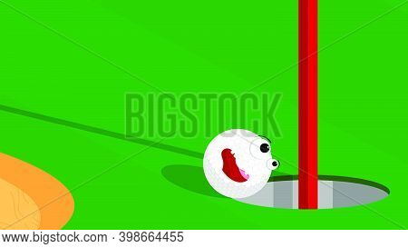 Cheerful Funny Sports Golf Ball Rolling In Hole On Green Field. Golf Hole On Course Marked With Flag