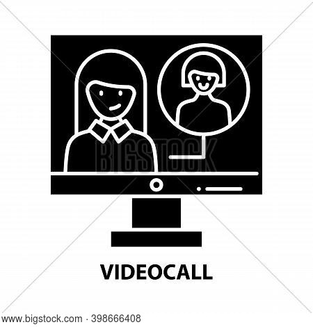 Videocall Icon, Black Vector Sign With Editable Strokes, Concept Illustration