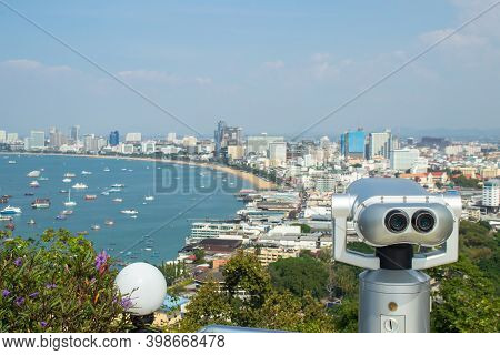 Binocular Or Telescope Locate On Viewpoint For Support Traveler Use Looking For View Of Pattaya City