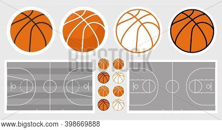 Basketball Field And Ball Set. Basketball Stickers Set. Isolated Objects. Elements For Design And We