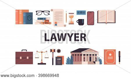Law And Justice Set Gavel Judge Books Scales Courthouse Icons Collection Horizontal Vector Illustrat