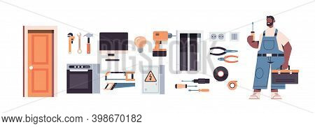 Professional Repairman In Uniform Holding Screwdriver And Toolbox Different Icons Set Home Maintenan