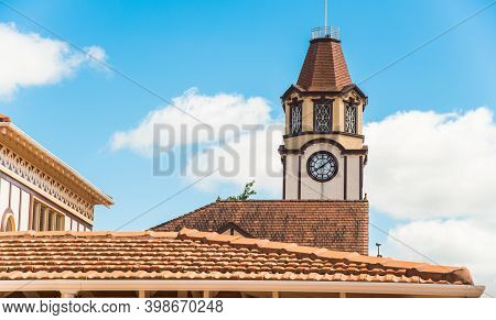 Beautiful Vintage Clock Tower In The Downtown Of Rotorua One Of The Popular Town In North Island, Ne