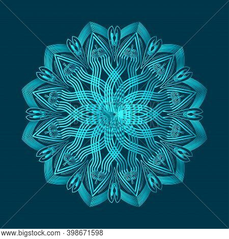 Luxurious Islamic Background Design Of Arabesque Greenish Blue Color Ornamental Floral Abstract Mand