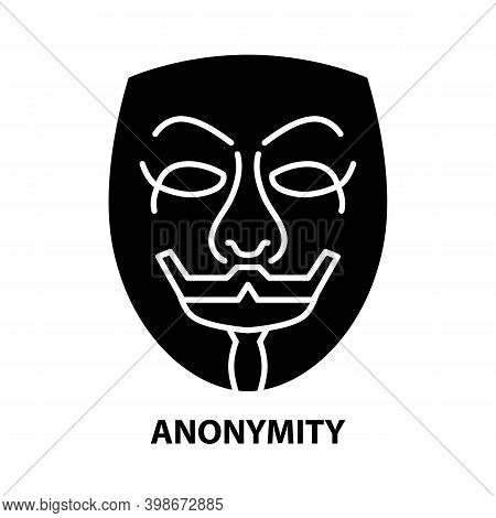 Anonymity Symbol Icon, Black Vector Sign With Editable Strokes, Concept Illustration