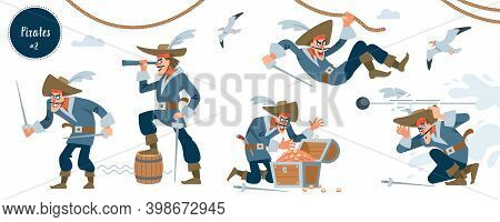 Pirate. Pirate Character In Different Situations. Vector Illustration.