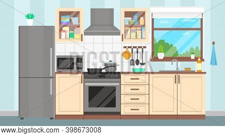 Kitchen Interior. Furniture, Appliances, Dishes And Cookware. Flat Design. Vector Illustration.