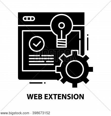 Web Extension Icon, Black Vector Sign With Editable Strokes, Concept Illustration