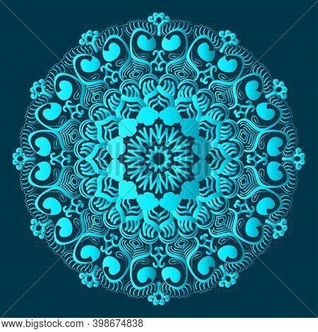 Arabesque Greenish Blue Color Ornamental Background Design And Floral Islamic Abstract Mandala Desig